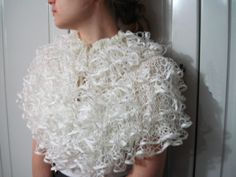 Hand knitted wedding shrug ,frilly wrap, fluffy stole ,ivory cream unique capelet. $40.00, via Etsy.