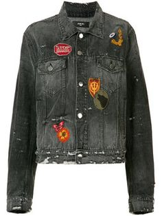 badge patch distressed denim jacket