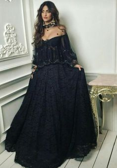 Inspired Black chantilly french lace lehenga skirt embroidery cape Dupatta indian designer wedding wear women custom made to order dresses Indian Wedding Outfits, Pakistani Outfits, Indian Outfits, Indian Attire, Indian Wear, Lehenga Skirt, Anarkali, Lehenga Choli, Black Lehenga