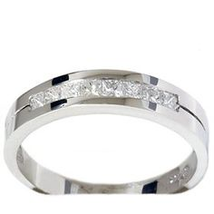 Mens .40CT Princess Cut White Gold Diamond Wedding Ring