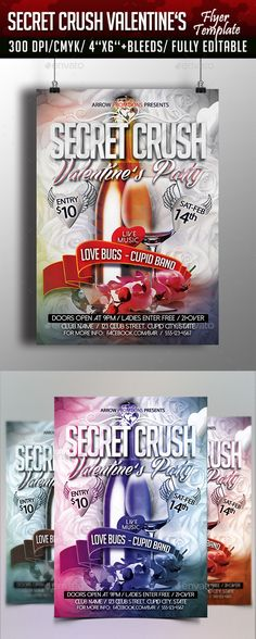 Secret Crush Valentine's Flyer Template — Photoshop PSD #special #night • Available here → https://graphicriver.net/item/secret-crush-valentines-flyer-template/10102934?ref=pxcr