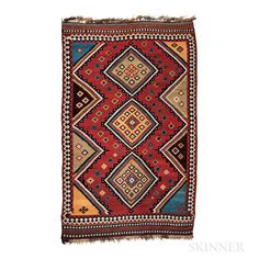 View auction on www.skinnerinc.com Kilims, Central Asia, Tribal Rug, Oriental Rug, Rugs On Carpet, Bohemian Rug, Weaving, Auction, Textiles