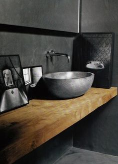 Houten badmeubel met natuurstenen waskom - badkamerinspiratie via Teakea