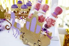 Candy kabobs at a Sofia the First birthday party! See more party planning ideas at CatchMyParty.com!