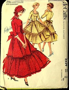 McCall's vintage sewing pattern 2329 pioneer costume or square dance dress - Size 14 Old Dresses, Dance Dresses, Vintage Dresses, Vintage Outfits, Vintage Fashion, 50s Vintage, Vintage Hats, Victorian Fashion, Pioneer Costume