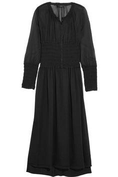 JOSEPH Cora Smocked Silk-Georgette Midi Dress. #joseph #cloth #dresses