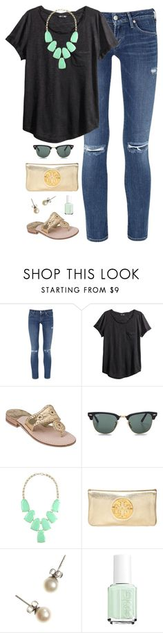 """""""sunny days"""" by classically-preppy ❤ liked on Polyvore featuring Citizens of Humanity, H&M, Jack Rogers, Ray-Ban, Kendra Scott, Tory Burch, J.Crew and Essie"""