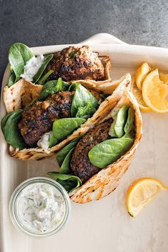 Lamb Kofta Burgers Recipe - Recipes for kofta (also known as kufta and kefta) appear in the earliest Arabic cookbooks; Greek Recipes, Meat Recipes, Cooking Recipes, Healthy Recipes, Lamb Burger Recipes, Pasta Recipes, Recipes With Lamb, Recipes Dinner, Gourmet