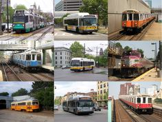 green,blue, yellow, orange, red line subway trains +buses, silver line and commuter rail-boston