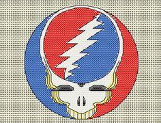 Grateful Dead cross stitch chart, steal your face pattern, 60 x 60 stitches, stealie, skull, lightning bolt, download