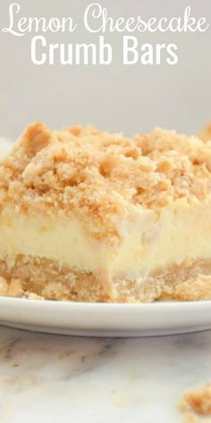Creamy Lemon Cheesecake Crumb Bars Lemon Cheesecake Crumb Bars are easy and delicious! A favorite to keep in the freezer for those hot summer days and a must for of July! You'll love this creamy citrus cheesecake with every bite! Lemon Desserts, Lemon Recipes, Easy Desserts, Baking Recipes, Cookie Recipes, Sweet Recipes, Easy Delicious Desserts, Freezer Desserts, Lemon Cheesecake Recipes