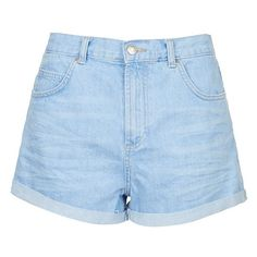 Topshop Moto 'Rosa' Cuffed Denim Shorts ($50) ❤ liked on Polyvore featuring shorts, bottoms, short, denim shorts, jean shorts, cuff shorts, topshop, cotton shorts and topshop shorts