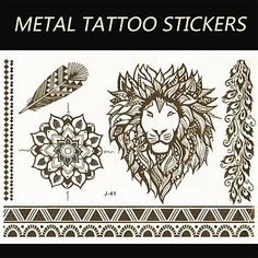 OOFAYZBL New Brand India Metallic Flash Tatoo Temporary Sticker Sexy Tattoo Body ArtLion Vs BraceletsFashion Fake Tattoo. Tattoo sticker use green ink and glue, is harmless to human body. Paste the successful design with waterproof and sweat-proof function, will not fall off in the shower, but do not rinse with hot water for too long, should not be rubbed with. Different parts of the pattern paste, duration of different patterned after 3-5 days began to fall under normal usage conditions...