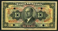 Brazil banknotes 10 Mil Reis banknote of 1923, Rafael de Abreu Sampaio Vidal.