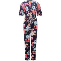 M&Co Floral Print Wrap Jumpsuit ($59) ❤ liked on Polyvore featuring jumpsuits, navy, tie belt, v neck jumpsuit, flower print jumpsuit, navy jumpsuit and jump suit