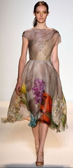 LELA ROSE | SS 2014 - lovely, simple styling with a rockin' print around the…