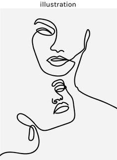 illustration – hi. I'm christl hammerand Art And Illustration, Art Sketches, Art Drawings, Abstract Drawings, Face Line Drawing, Abstract Face Art, Line Artwork, Minimalist Art, Art Inspo