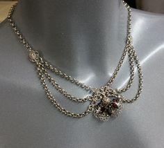 Vintage Halsschmuck - Silberne Trachtenkette Kropfkette Farbsteine SK760 - ein Designerstück von Atelier-Regina bei DaWanda