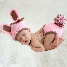 photography props knitting baby big ears hat infant baby photo props newborn baby girl cute outfits