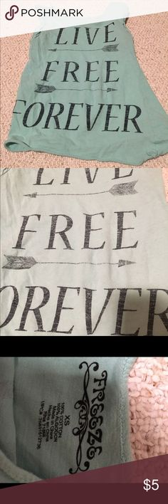 "Light blue tank Light blue tank with black lettering that says ""live"" ""free"" ""forever"" freeze Tops Tank Tops"