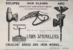1895 AD(30)~CRESCENT BRASS & IRON WORKS, ECLIPSE, ARC LAWN SPRINKLERS Garden Sprinklers, Print Ads, It Works, Iron, Brass, Ebay, Print Advertising, Nailed It, Steel