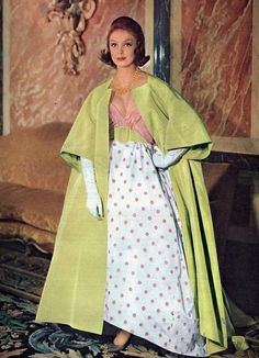 Evening gown and coat by Pierre Balmain, 1959