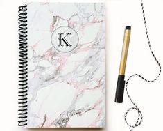 Custom Monogram Note book / Marble notebook / by CupidDesignStudio