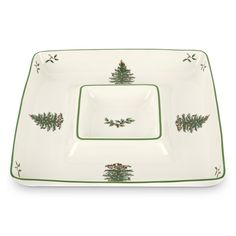 Spode 1496880 Christmas Tree Square Chip and Dip