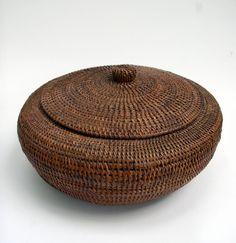 American Indian Inuit Baleen Lidded Basket