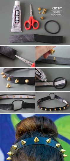 diy,crafts,diy spiked headband,diy accessories