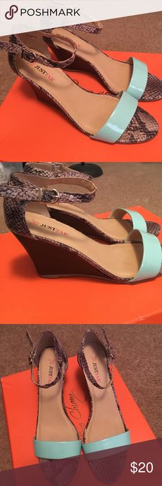 Just fab wedges Brown snake patterned wedges with blue strap across toe. Great for spring! JustFab Shoes Wedges