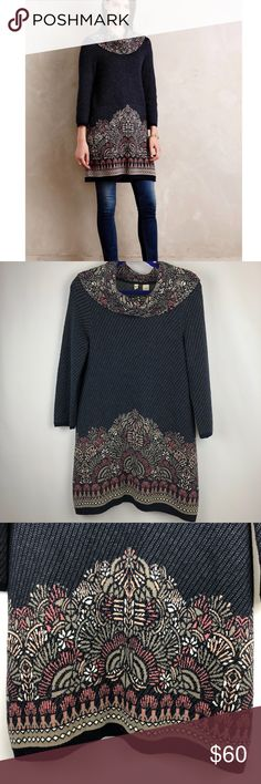 Anthropologie imperial garden tunic sweater Sz M This is a pre-owned item. 