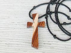 Wooden Cross Pendant  Maple & African Bubinga by TheLotusShop