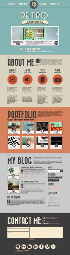 Retro Portfolio - Attractive and Eye catching One Page Vintage Wordpress Theme.