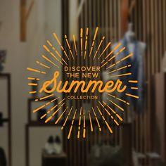Summer Collection Sun Window Sign - Removable Vinyl Decal - Seasonal Shop Window Sticker - Summer Window Cling - Retail Display