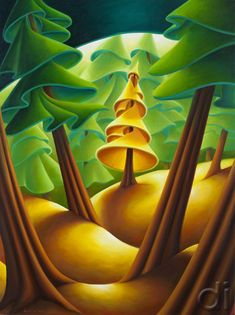 Presence (The Golden Spruce) by Dana Irving - also worth knowing is the fantastic book of the same name written by John Valiant. Landscape Art, Landscape Paintings, Landscapes, Drawing Studies, Naive Art, Canadian Artists, Acrylic Art, Surreal Art, Art Pictures