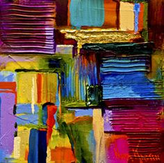 "Oil painting ""Gold & Emerald"" 8""x8"" by artist Nora Kasten"