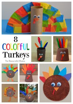 8 Colorful Turkey Kid Crafts for Thanksgiving