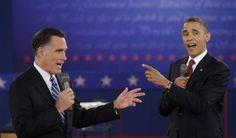 153 10/17/12 - President Barack Obama and Republican presidential nominee Mitt Romney exchange views during the second presidential debate at Hofstra University, Tuesday, Oct. 16, 2012, in Hempstead, N.Y. ((AP Photo/David Goldman))