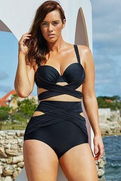3bd600e143595 Black Wrap Underwire High Waist Plus Size Bikini