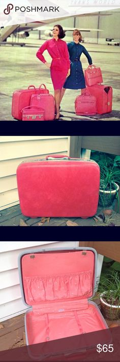 "👑 Vintage Hot Pink Royal Suitcase Vintage Samsonite Royal Traveller Pink  Sooo cute!!! 💕 - Vintage 50's, 60's luggage  - 20x16x6 ""Train Case""  - Hot Pink Hard outside shell - Light pink w/ white polka dot interior (great condition) (all intact lining, pockets and straps) - Outter shell has normal wear from age and use. Few minor scratches, nothing extremely noticeable - No latch issues or No keys to lock either, but they are not needed to open the suitcase  - Clean, and ready for a…"