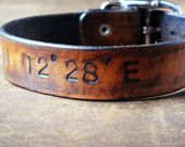 Latitude and Longitude Leather Cuff with Adjustable Buckle. For Aaron and the rest of flight 617