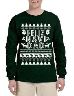 Men's Long Sleeve Feliz Navidad Ugly Xmas Holiday Gift Cute Tee
