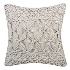 JWH Hand Woven Cushion Covers Decorative Woolen Yarn Cable Knitted Accent Pillow Cases Home Sofa Bed Living Room Chair Decor Pillowcases 18 x 18 Inch * You can find more details by visiting the image link. (This is an affiliate link) Boho Cushions, Pillows, Macrame Wall Hanging Diy, Macrame Design, Crochet Pillow, Macrame Cord, Macrame Projects, Macrame Patterns, Cushion Covers