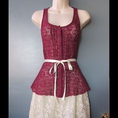 Chic Burgundy Lace Top W/ 2 Ribbon Belts This top is really cute and durable. Soft and comfy. Belts included - Size M 11 - Save $$$ on bundles Tops Blouses