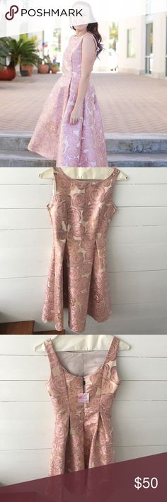 Chicwish NEW WITH TAGS Pink Floral Midi Dress Chicwish retro midi pink, gold and white dress chicwish Dresses Midi