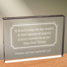 Cadou personalizat trofeu plexiglas dreptunghiular - A lucra in echipa inseamna succes