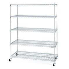 "Buy additional to match 2 existing: Seville Classics 5-Tier Large Chrome Shelving Unit - 60"" x 24"" x 72"" - Sam's Club"