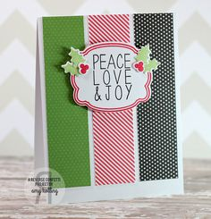 Card by Amy Kolling. Reverse Confetti stamp set:Give Thanks. Confetti Cuts: Give Thanks Label. Christmas card. Holly & Berry.
