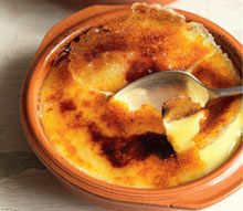 """Burnt cream    This creamy custard with a crisp caramel topping is found everywhere in Spain as crema catalana, but in Catalonia it is known as crema cremada, which means """"burnt cream"""", and crema de Sant Josep, because it is served to celebrate Saint Joseph's Day on 19 March."""
